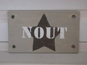 sloophouten naambord met ster