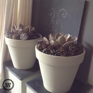 herfstdecoratie potten