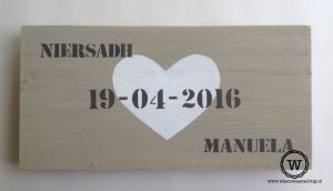 dienblad kado bruiloft met namen en datum