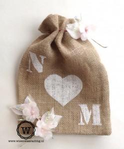 jute zakje bruiloft letters hart