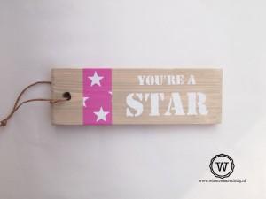 tekstbord-roze-ster-star