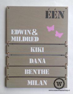 naambord met 4 naambordjes kinderen