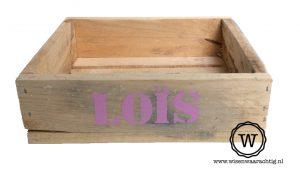 houten opbergbak met naam roze meisje